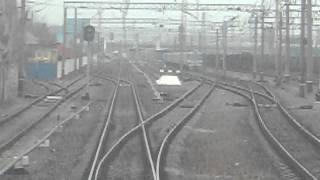Отправление со станции Люботин(вид из окна последнего вагона, Южная ж.д., Харьковская обл., 2016-01-13T08:10:45.000Z)