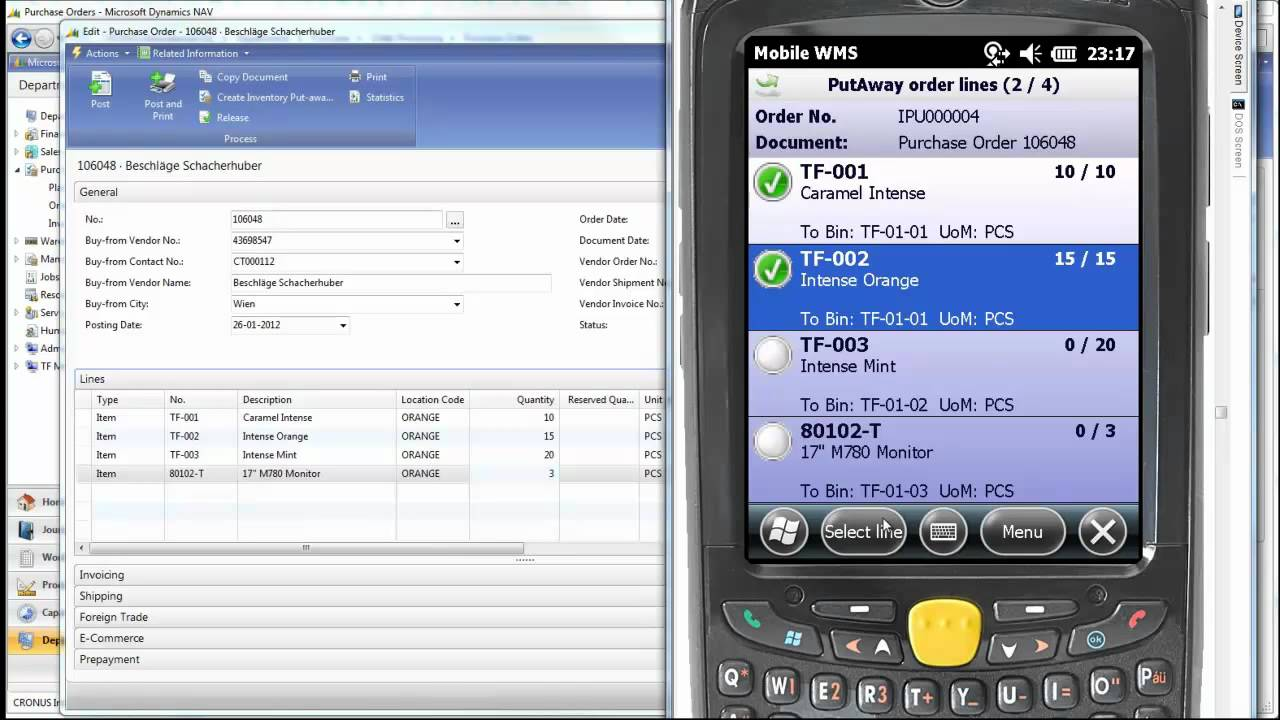 Performing A Put Away In Dynamics Nav Using Mobile Wms By