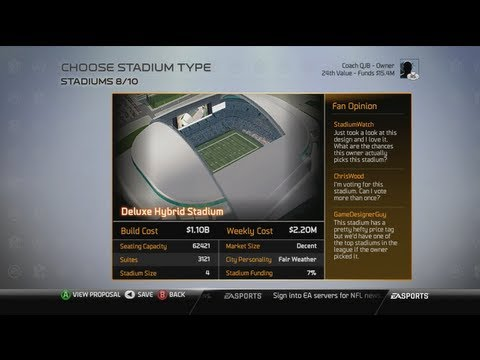 Madden  Owner Best Stadium To Build