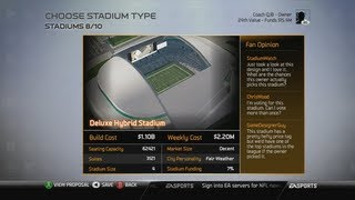 Madden 25 Connected Franchise Owner Mode - Showing the Basics - Building New Stadium - Gameplay