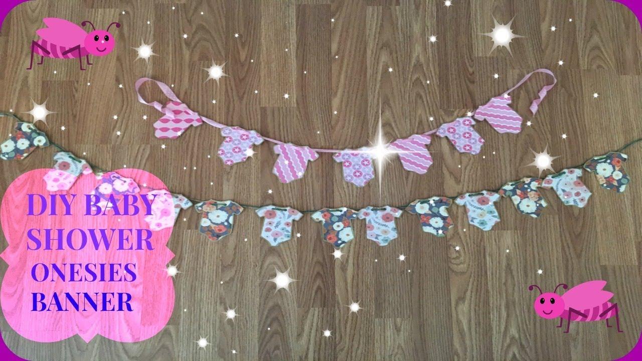 Diy Baby Shower Decor Onesies Banner Floral Garden Theme Dollar