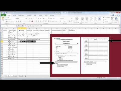Create a semester plan in Excel