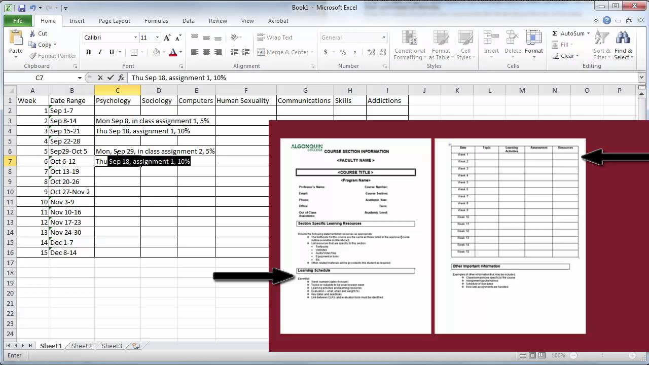 Create A Semester Plan In Excel Youtube