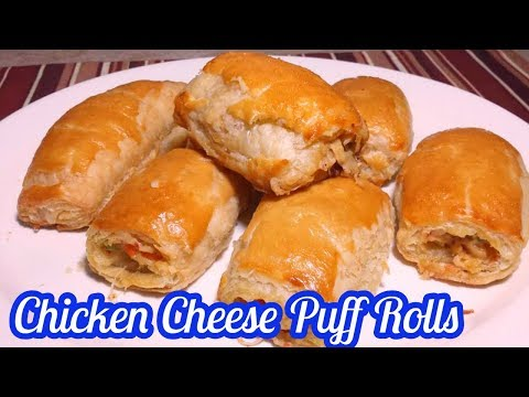 Chicken Cheese Puff Rolls with homemade puff pastry dough_Ramzan special recipe