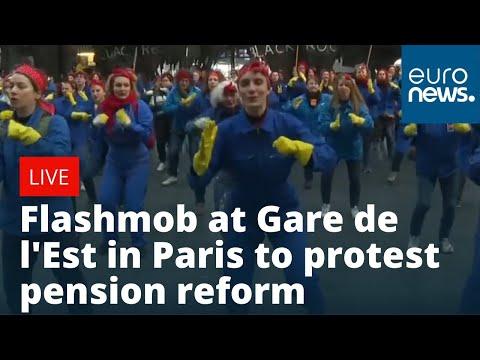 euronews (in English): Flashmob at Gare de l'Est in Paris to protest pension reform   LIVE