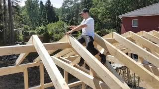 Dachsparren beim Fachwerkcarport befestigen