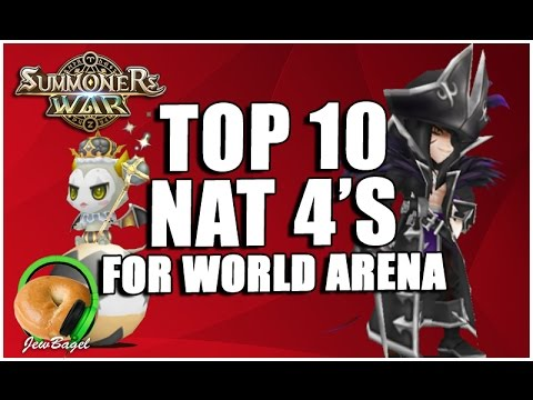 SUMMONERS WAR : TOP 10 NAT 4's for WORLD ARENA