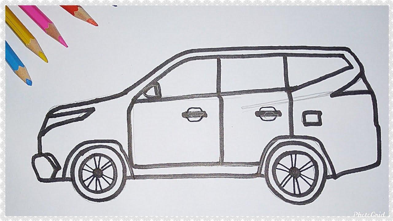 Cara Mudah Menggambar Mobil Pajero Sport Tutorial Indonesia Youtube