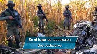 En el lugar de accidente se localizaron dos cadáveres, armamento y paquetes de droga