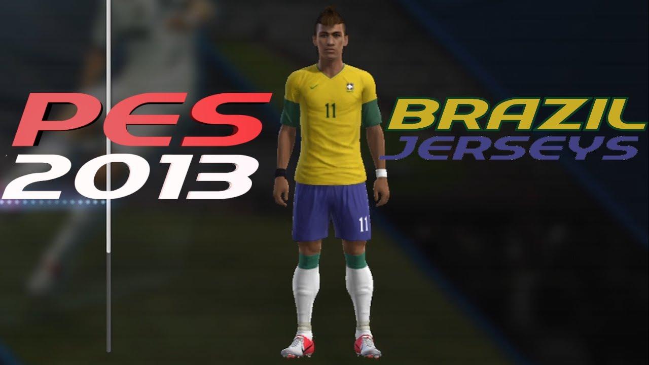 ac2cf7fc16 PES 2013 How to Create Brazil Kit Home + Away Jerseys - YouTube