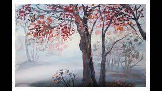 видео Как нарисовать осенний пейзаж поэтапно красками. Картина панно рисунок Мастер-класс Праздник осени Рисование и живопись Осенний пейзаж Гуашь