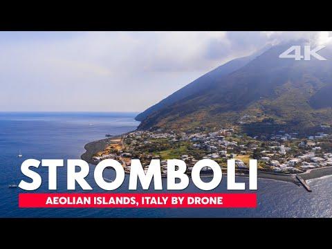 Stromboli Island, Volcano, Italia | 4K drone footage, DJI Mavic Air
