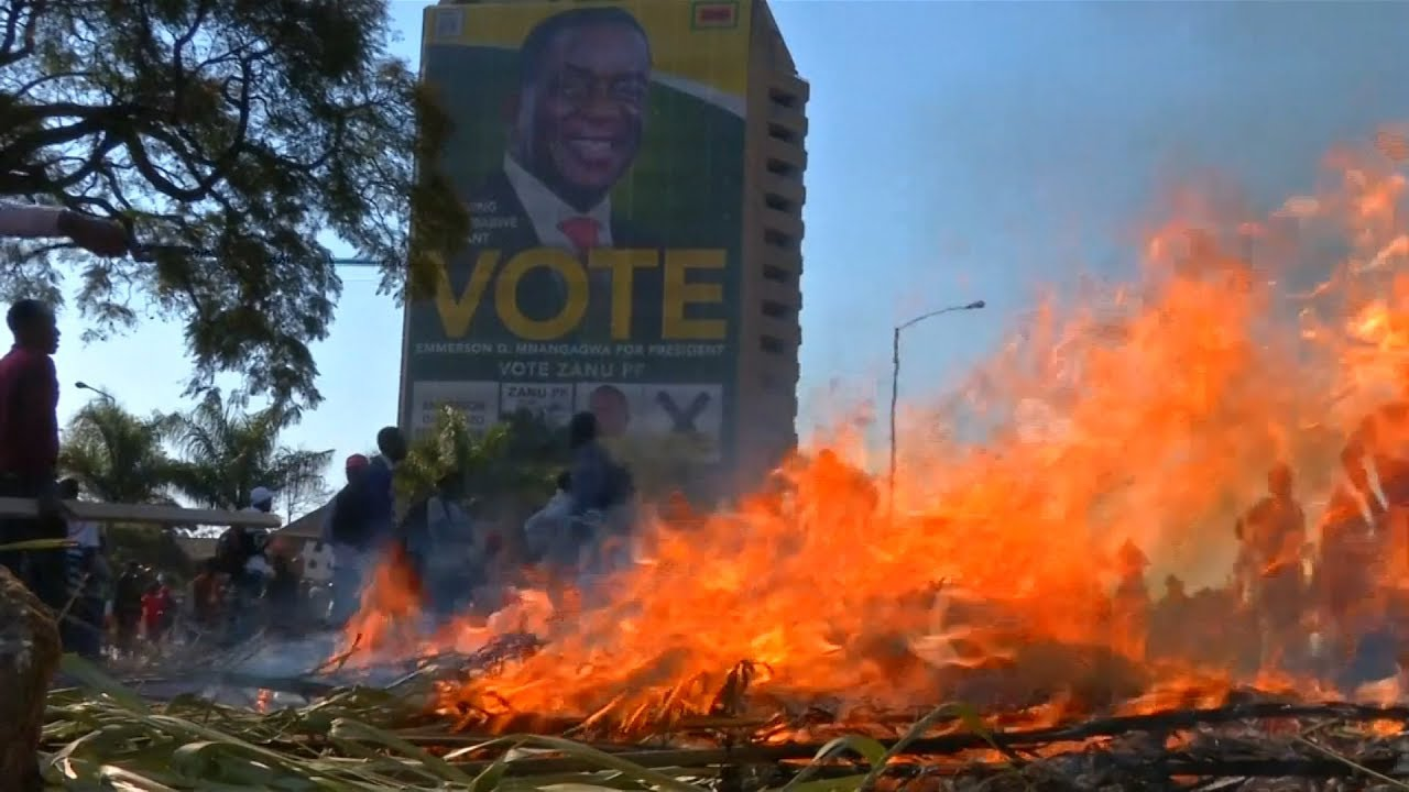 Chaos erupts in Zimbabwe as ruling party wins majority of votes.