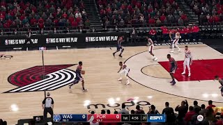 NBA LIVE 19 - Washington Wizards vs Portland Trail Blazers - Full Game - PS4 PRO - HD