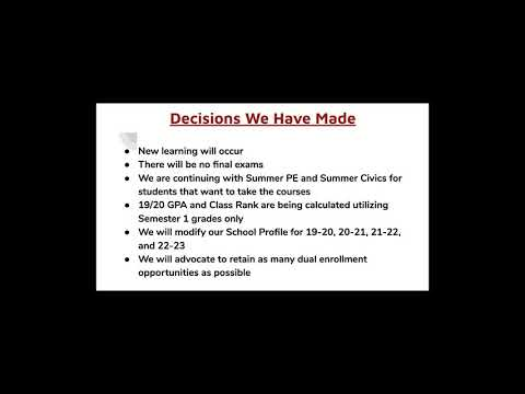 Bacon Academy End of Year Message 05-01-20