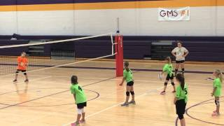 8 Year Old With A Powerful Overhand Serve In Volleyball.