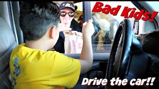 bad kids driving parents car   go get ice cream   mom freaks out   rad kids tv
