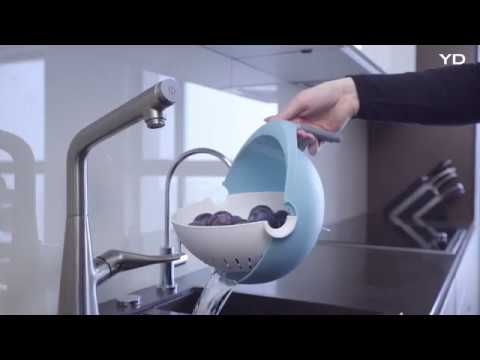 This colander balances your time by washing and serving with the same design