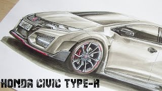 Honda Civic Type-R (2016) / Car Drawing by Fast Art