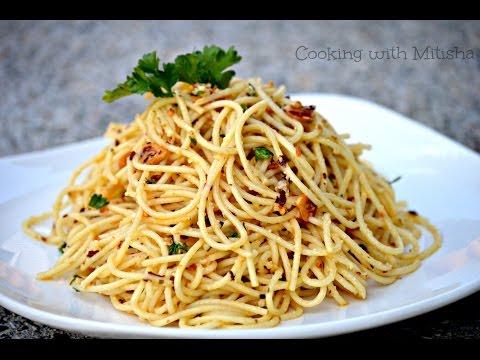 Spaghetti Aglio E Olio Recipe | Garlic Spaghetti | Pasta With Garlic And Olive Oil