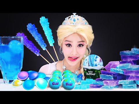 Frozen Elsa blue color food Mukbang 겨울왕국 엘사 파란색 음식 먹방 JiniYum 지니얌