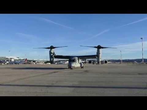 USMC MV-22 Osprey taxiing for parking at LFML Marseille Int'l Airport