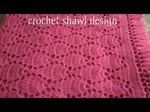 Crochet leaf stitch shawl design/ Hindi