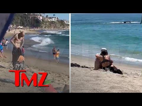 Kourtney Kardashian and Travis Barker Snuggle Up on Beach   TMZ