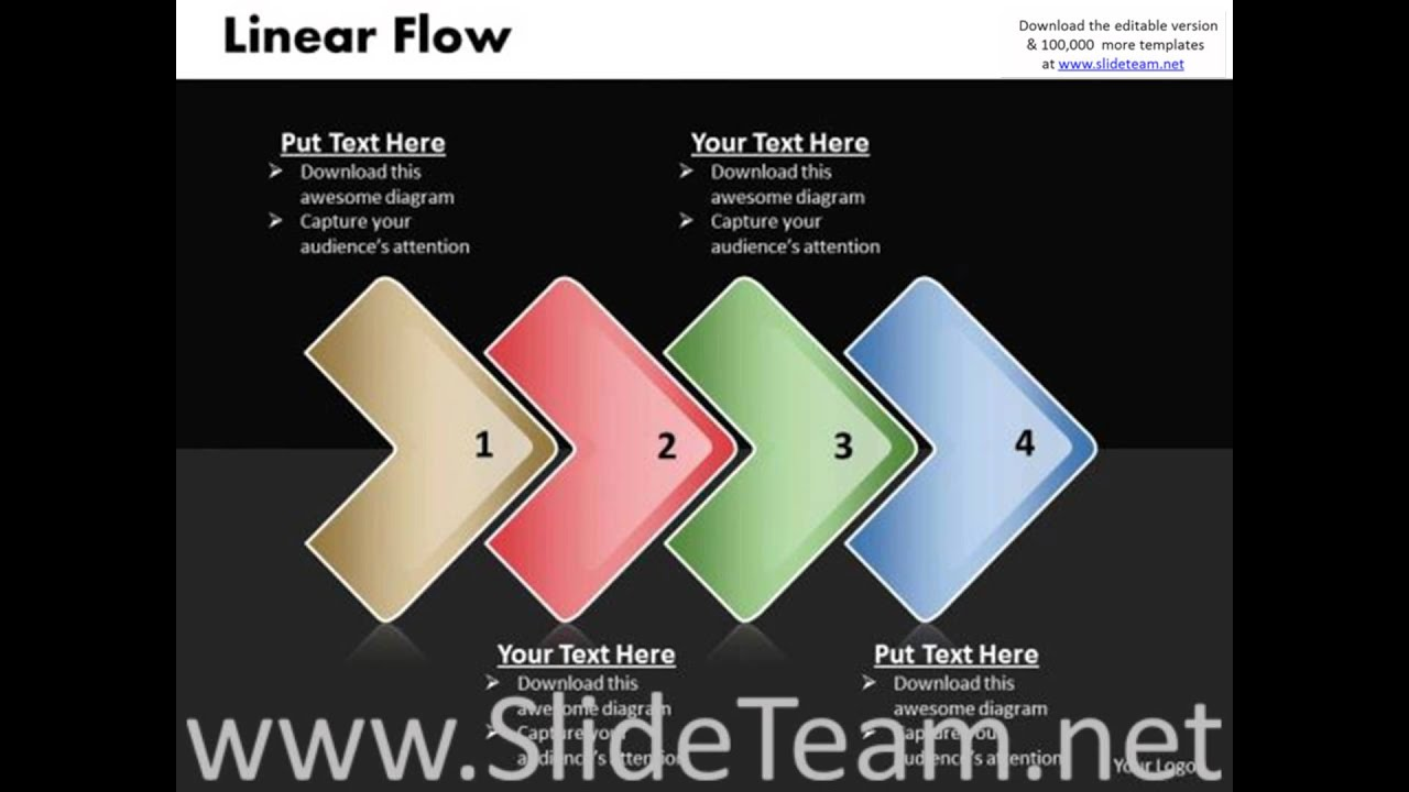 Flow Diagram Powerpoint Template Vw Golf Mk6 Fuse Ppt Linear Process 4 Phase
