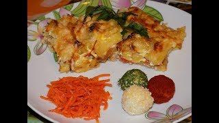 Картошка с фаршем, помидором и сыром в духовке. мясо по-французски