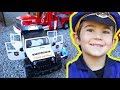 Giant Surprise Box Toy Truck Unboxing - Bruder Police Jeep - Fire Engines Playing