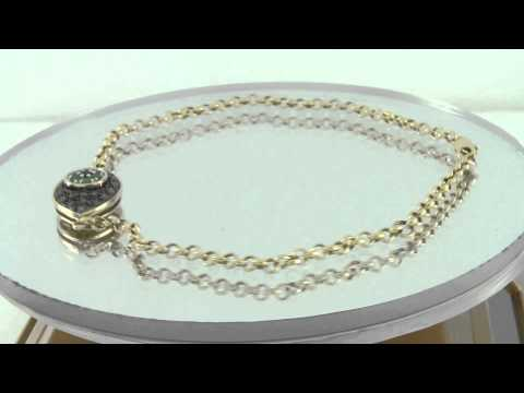 Estate 10k Yellow Gold 1.00ct Diamond and Emerald Evil Eye Bracelet
