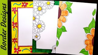Flowers | Border designs on paper | border designs | project work designs | borders for projects