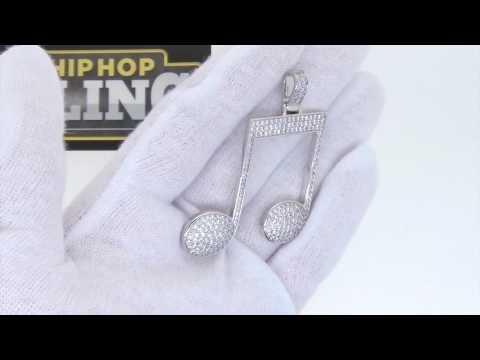 Hip Hop Music Note Bling Bling Pendant