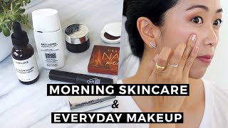 Morning Skincare Routine and Everyday Makeup Tutorial, foundation free, everyday makeup routine, morning skincare
