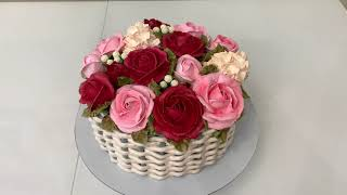 Торт Букет КОРЗИНА Роз Розы и Гортензия из БЗК Красивый торт
