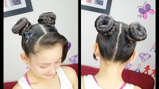 Double Donut Bun  | Hairstiles for girls | Hairstyles for medium/long hairs