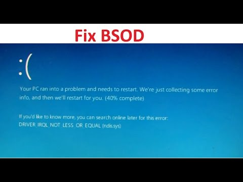 FIX Windows 10 DRIVER_IRQL_NOT_LESS_OR_EQUAL NDIS.sys BSOD - YouTube