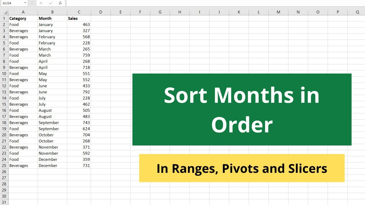 How to sort Month and Day names in Excel