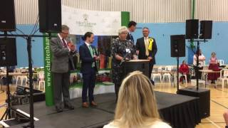 Announcement of the General Election count results in Cheltenham 2017
