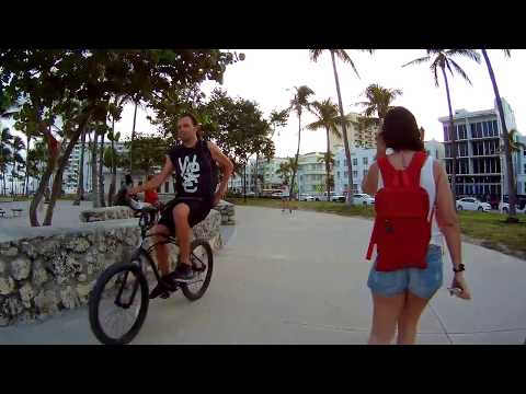 Lummus Park, South Beach, Ocean Drive, Bike Rental HD Action Camera, Miami Beach, Florida