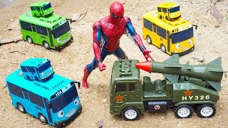 Military Rocket Truck Trolls Tayo The Little Bus | Spiderman Rescues Car Toys for Children