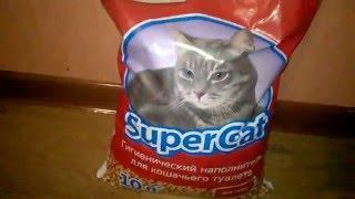 Наполнитель туалетов Super Cat для котят и привередливых котов впитывающий 3 кг