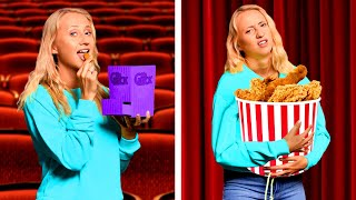 BEST WAYS TO SNEAK SNACKS! Sneak Food Into The Movies! Funny Situations and Food Pranks!