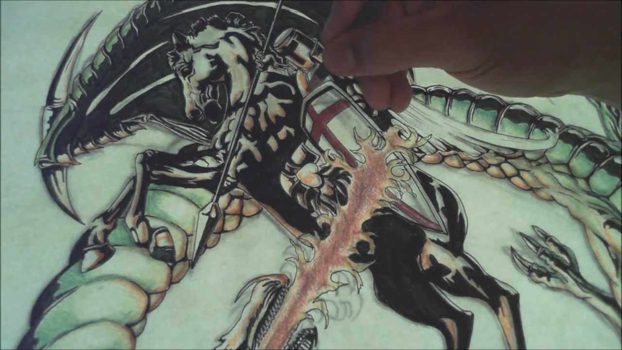 saint george tattoo design full length speed drawing youtube. Black Bedroom Furniture Sets. Home Design Ideas
