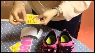 How to apply shoe labels stickers on boys shoes | Mycutestickons
