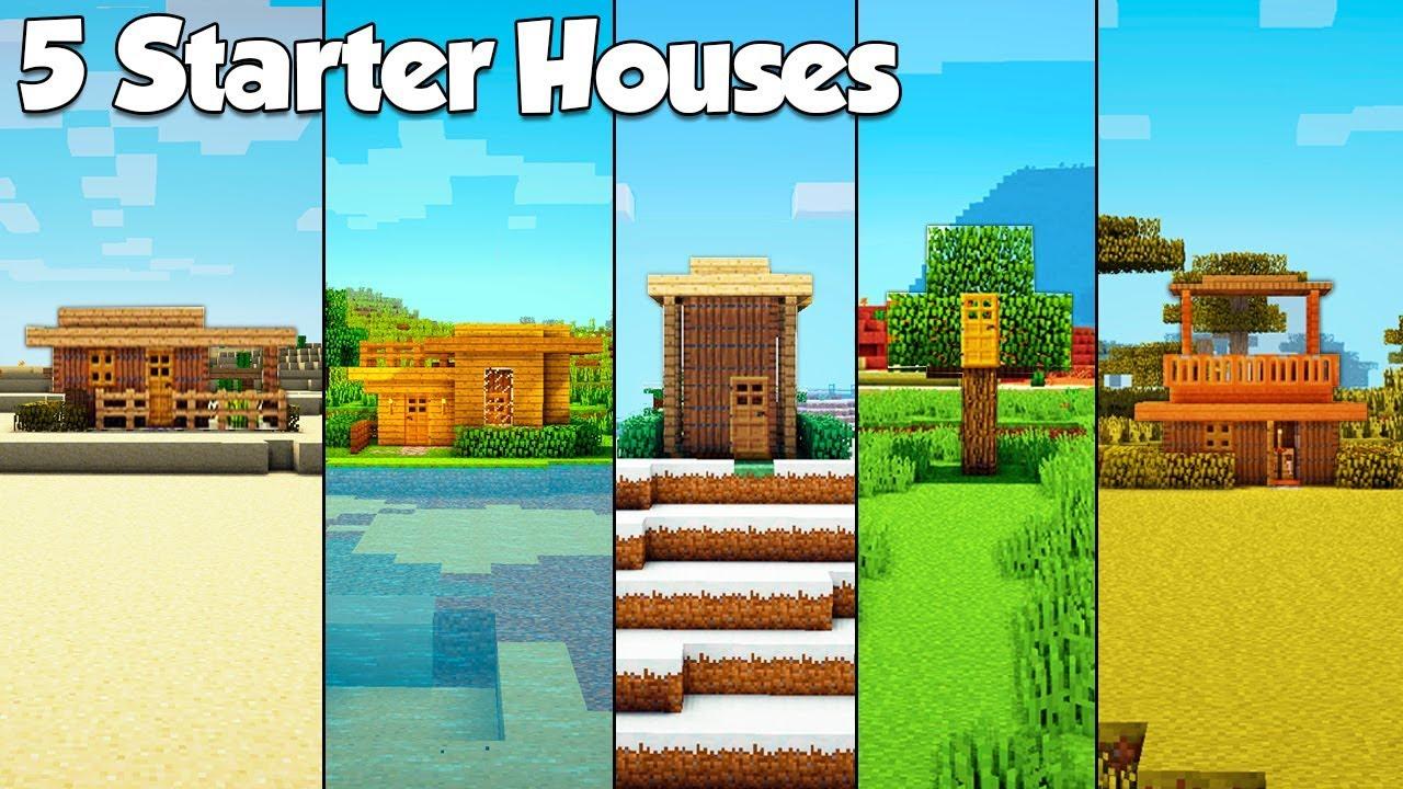 Minecraft 5 Starter House Build Hacks Ideas Tutorial Youtube