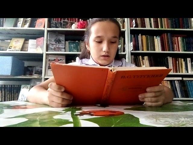 Изображение предпросмотра прочтения – «библиотека село Архангельское» читают отрывок изпроизведения «Му-Му» И.С.Тургенева