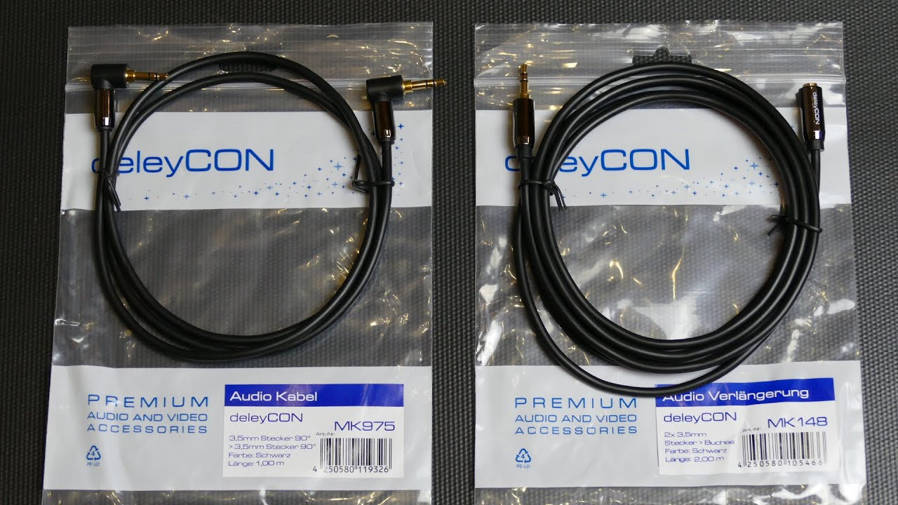 deleyCON PREMIUM HQ Stereo Audio Kabel Unboxing - YouTube