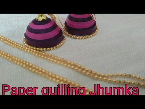 Paper quilling Jhumka making